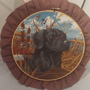 11 inch Black Labrador dog hoop art.